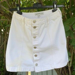 Abercrombie High-waisted White Jean Skirt